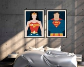 Wonder Woman & Superman Poster | Super Hero | DC Comics | Wall Art | Above Bed Decor | Home Decor | Bedroom Decor | Couple Wall Art