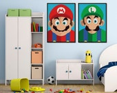 Super Mario Bros | Set of 2 Poster | Mario and Luigi | Video Game Decor | Nintendo | Geek Decor | Playroom Decor | Kids Room Decor | Gaming