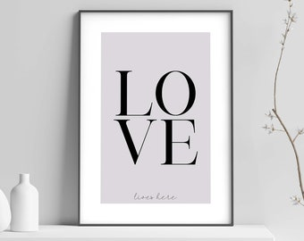 Love Lives Here Family Home Quote Wall Art Print Picture Black /& White Decor