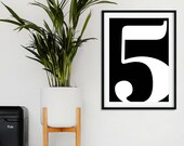 Number Poster | Family Size Sign | Family Number Print | Personalised Typography Print | Custom Number Print | Scandinavian Decor | Prints