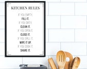 Kitchen Rules Poster | Kitchen Rules Print | Kitchen Decor | Kitchen Signs | Kitchen Wall Decor | Home Decor | Family Rules | Typography