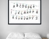 Stranger Things Poster | Alphabet Lights | Stranger Things Lights | Home Decor | Girls Room Decor | TV Series Poster | Movies Wall Art