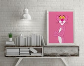Pink Panther Poster | Vintage Cartoon | Movies | Wall Art | Wall Decor | Home Decor | Prints | Poster | Digital Paper | Digital Download