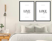Live by Sun, Love by Moon | Set of 2 Prints | Mindfulness Print | Bedroom Wall Art | Housewarming | Home Decor | Couple Print | Love Quote