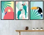 Tropical Birds | Set of 3 Prints | Arara | Toucan | Flamingo | Tropical Decor | Birds Print | Wild Animals | Garden Wall Art | Home Decor