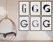 Custom Signs | Initial Name Prints | Set of 6 Prints | Custon Initial | Initial Name Sign | Monogram Sign | Gallery Wall Set | Personalized