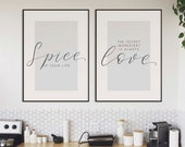 Spice Up Your Life, The Secret Ingredient Is Always Love | Set of 2 Prints | Kitchen Decor | Kitchen Prints | Gallery Wall Set | Home Decor
