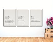 Mother Definition, Love Definition, Family Definition | Mothers Day Gift | Set os 3 Posters | Home Decor | Wedding Gift | Pregnancy Gift