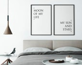 Game of Thrones Set of 2 Prints | Moon of My Life, My Sun and Stars | Wall Art | Home Decor | Quote Prints | Above Bed Decor | Bedroom Decor
