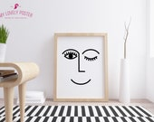 Happy Face Sign | Line Art | Eye Poster | Scandinavian Print | Abstract Line Art | Eye Print | Abstract Face Print | Abstract Art | Prints