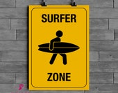 Surf Zone Poster | Surf | Ocean | Beach | Sports | Wall Art | Beach House Decor | Home Decor | Mens Gift | Boyfriend Gift | Digital Download