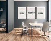 Inspirational Sign Set of 3 | Matching Office Prints | Office Quote | Office Decor | Office Wall Art | Home Office Decor |Modern Quote Print