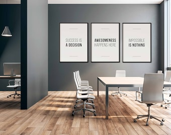 Office wall prints Advertising Company Inspirational Sign Set Of Matching Office Prints Office Quote Office Decor Office Wall Art Home Office Decor modern Quote Print Etsy Office Wall Art Etsy