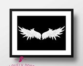 Wings Poster | Angel Wings | Angel Wings Wall Art | Bedroom Decor | Above Bed Decor | Home Wall Decor | Black and White Decor | Wall Decor