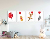 Winnie the Pooh and Friends | Set of 4 Prints | Pooh Bear Print | Kids Room Decor | Nursery Decor | Nursery Wall Art | Playroom Decor