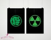 Hulk Logo Set of 2 Posters | Avengers | Marvel | Home Decor | Superhero Decor | Boys Room Decor | Superhero Bedroom | Superhero Party