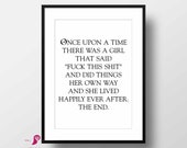 Once Upon a Time Poster | Above Bed Decor | Home Decor | Bedroom Decor | Gift for Her | Quote Prints | Teen Room Decor | Girls Room Decor