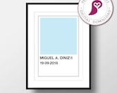 Personalised Birth Announcement Poster | Custom Name | Baby Announcement | Pantone Color | Gender Reveal | Nursery Decor | Nursery Wall Art