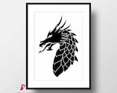 Dragon Poster | Dragon Wall Art | Dragon Print | Black and White Decor | Wall Decor | Minimal Art | Fantasy Decor | Fantasy Art | Print Art