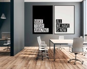Inspirational Sign Set of 2 | Matching Office Prints | Office Quote | Office Decor | Office Wall Art | Home Office Decor |Modern Quote Print