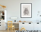 Bear Poster | Teddy Bear | Nursery Wall Art | Nursery Decor | Kids Room | Baby Girl Room | Hand Drawn | Digital Download | Playroom Decor