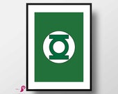 Green Lantern Poster | Super Hero | Home Decor | Superhero Decor | Boys Wall Art | Superhero Logo | Superhero Bedroom | Superhero Party