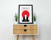 Relax Poster | Modern Print | Buddha Wall Art | Zen Print | Yoga Wall Art | Buddha Wall Art | Yoga Poster | Yoga Studio Decor | Quote Prints
