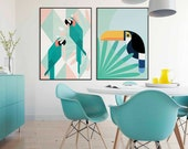 Tropical Birds Poster | Set of 2 | Arara | Toucan | Tropical Forest | Tropical Decor | Jungle Art | Wild Animals | Garden Art | Home Decor