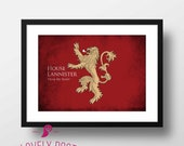 House Lannister | Game of Thrones Prints | Game of Thrones | Winter is Coming | Movie Poster | Minimalist Print | Film Poster | Home Decor