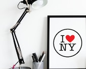 Love NY Poster | NYC Logo | New York City | Places | Home Decor | Boys Room Decor | World Cities | Typography Wall Art | Travel Poster