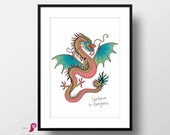 I Belive in Dragons Poster | Chinese Dragon Wall Art | Dragon Print | Wall Decor | Minimal Art | Fantasy Decor | Fantasy Art | Print Decor