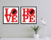 Love & Hope Print | Set of 2 Prints | Love Sign | Hope Sign | Home Decor | Love Print | Gallery Wall Set | Quote Prints | Typography Print
