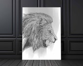 Lion Print Poster | Wild Animals | Forest | Sketch | Wall Art | Wall Decor | Home Decor | Prints | Poster | Digital Paper | Digital Download