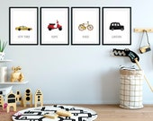 Car Print | Set of 4 Prints | Toddlers Room | Kids Room | Boy Nursery Decor | Boy Bedroom Decor | Playroom Decor | Dorm Decor Boys | Vehicle