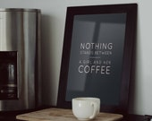 A Girl and Her Coffee Poster | Kitchen Decor | Kitchen Sign | Coffee Sign | Coffee Prints | Wall Decor | Home Decor | Quote Prints | Girls