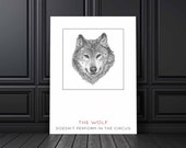 Wolf Quote Poster | Wild Animals | Woodland Art | Animal Prints | Sketch | Wall Art | Home Decor | Office Decor | Quote Prints | Modern Art