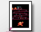 Donkey Kong Poster | Video Game | Nintendo | Games | Wall Art | Gift for Men | Home Decor | Kids Room | Boy Room | Decor Video Game Decor