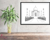 Taj Mahal Poster | India | Sketch Art | Monuments Of The World | Architecture Print | Famous Buildings | Home Decor | Travel Poster