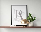 Custom Letters Prints | Couples Initials Print | Bedroom Wall Art | Custom Name Sign | Couple Name Sign | Wedding Sign | Monogram Sign