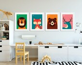 Vintage Animals Set of 4 Posters | Playroon Decor | Nursery Decor | Nursery Wall Art | Home Decor | Kids Room | Lion | Fox | Deer | Bear