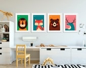 Vintage Animals | Set of 4 Prints | Playroon Decor | Nursery Decor | Nursery Wall Art | Kids Room | Playroom Decor | Woodland Nursery Decor