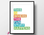 This is Where the Fun Stuff Happens | Kids Room Decor | Kids Room | Kids Quotes | Playroom Decor | Dorm Decor | Bedroom Decor, Toddlers Room