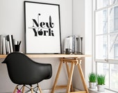 New York Poster | NYC | City | Big Apple | Places | Wall Art | Wall Decor | Home Decor | Quote Prints | Poster | Typography Wall Art