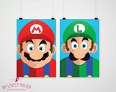Super Mario Bros Poster | Mario and Luigi | Video Game Decor | Nintendo | Geek | Playroom Decor | Kids Room | Boy Room Decor | Wall Art