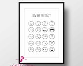 How Are You Today Poster | Emoticon Faces | Mood Faces | Interactive Wall | DIY Prints | Kids Decor | Playschool | Wall Decor | Home Decor