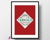 Tabasco Poster | Chili | Pepper | Kitchen Print | Kitchen Decor | Kitchen Wall Art | Home Decor | Dining Room Decor | Cook Gift | Wall Art