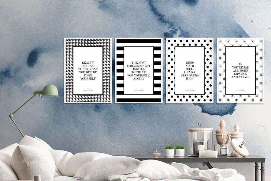 Chanel Quotes Set Of 4 Prints Coco Chanel Fashion Wall Etsy