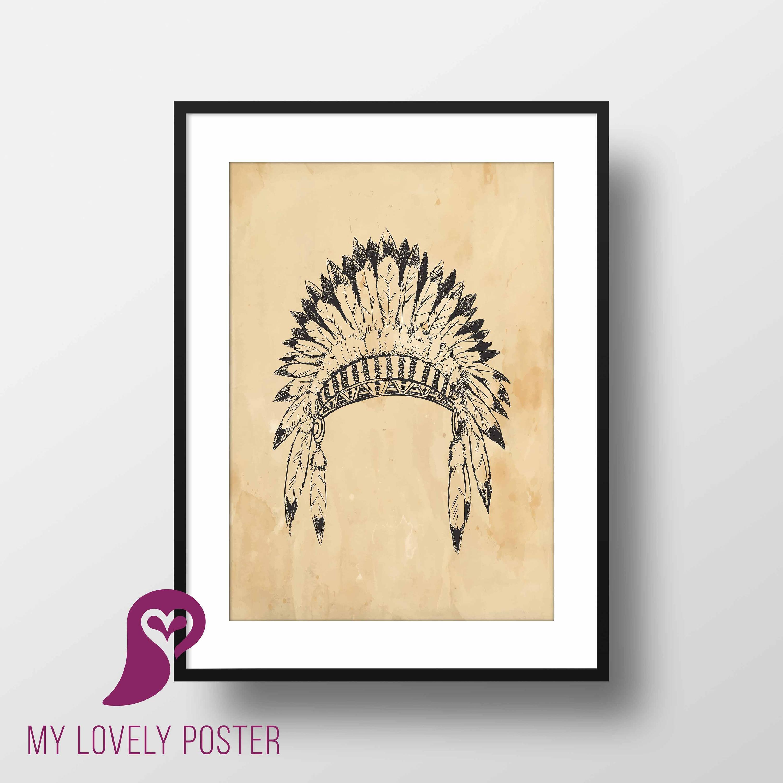 Indian Headdress Poster Boho Native American Feather   Etsy