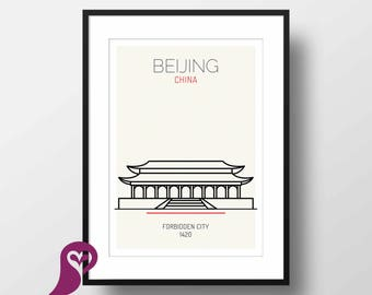 Forbidden City Poster | Beijing | China | Buildings | Architectural Prints | Wall Art | Wall Decor | Home Decor | Office Decor | Poster