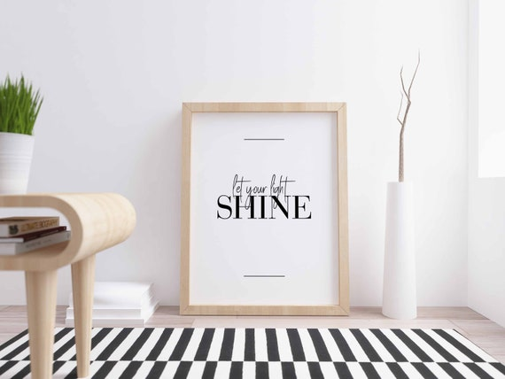 Let Your Light Shine Poster Bedroom Decor Housewarming Gift Home Decor Girls Room Quote Prints Bedroom Wall Art Inspirational
